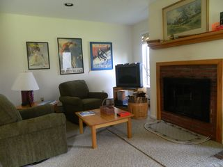 Carrabassett Valley condo photo - living room with fireplace