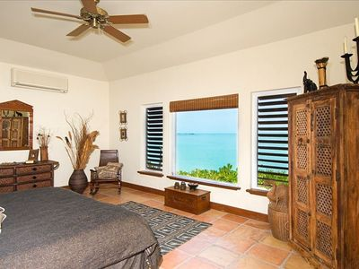Main house master suite also has ocean view of the Caribbean Sea