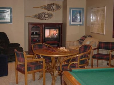 Basement tv (has game system, or you can hook up yours) game table, sofa bed,
