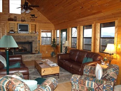 Family Room over looking Smokey Mountains