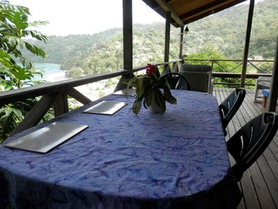 Saint John cottage rental - Dining on the deck