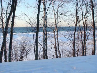 Grand Marais house rental - Lake Superior in the winter Go to rentals.aplrep.com for cottage pictures, more