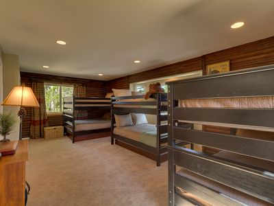 Bunk room has 3 bunk beds.