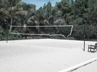 White sand Beach Volley Ball court adjecent to pool area