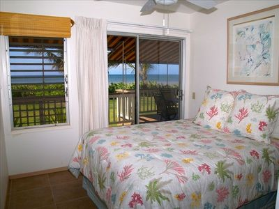 The 2nd bedroom is also oceanside, and features a queen bed.