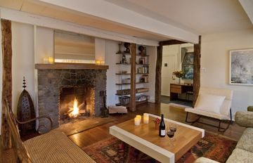 Woodstock house rental - Living room with wood-burning fireplace