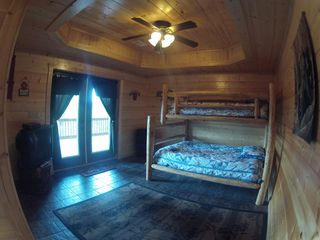 Ellijay cabin photo - Lower Bedroom with Full Size Bed and a Single on top. Great Kids Room.