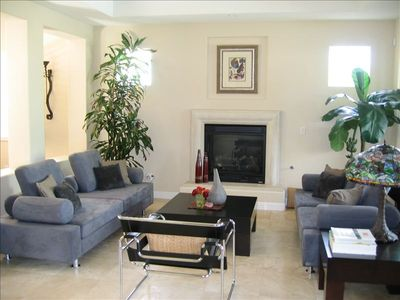 Formal living room with fireplace