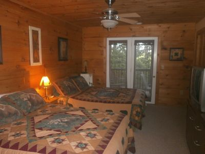 Boone cabin rental - Third bedroom on lower level with french doors leading to one of two balconies