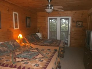 Boone cabin photo - Third bedroom on lower level with french doors leading to one of two balconies