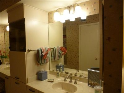 Master bathroom with 2 sinks/vanity, walk-in closet, garden tub, separate shower