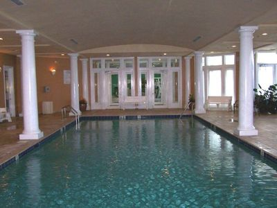 The beautiful indoor pool is located inside the Clubhouse near the locker rooms.