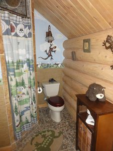 Upstairs boy's room bathroom with shower