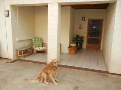 My Goldie at entrance to Suite. Best location at Makaha Surfing Beach!
