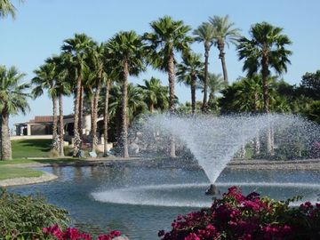 Indio condo rental - View of Famous 'Celebrity House' from Club House that features a restaurant and