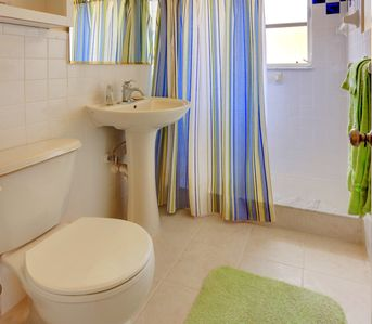 Our full bath is convenient for all guests