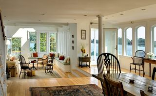 Portsmouth house photo - Spacious living area with sunken floor and barrel ceiling