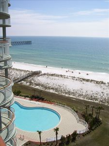 Pool, beach and fishing pier from main balcony