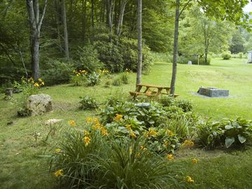 Back yard, with creek to left, picnic table and fire pit.