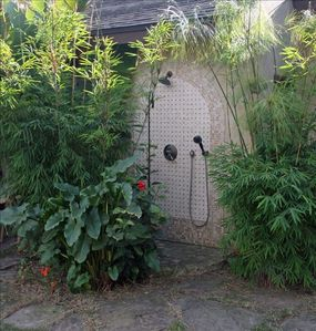Lovely outdoor hot water shower