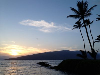 Oceanfront sunset views that you'll have if you rent our wonderful Maui condo.
