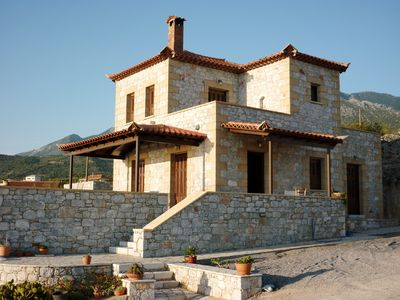 Hill top villa with stunning sea views, quiet location, only 2.5 km from Stoupa.