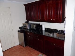 Cruz Bay condo photo - Kitchenette in the Studio with under-counter fridge, microwave & toaster ove