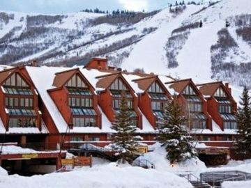 Our ski-in/ski-out lodge on the slopes of Park City Ski Resort, in background...