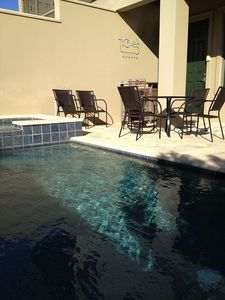 Inlet Beach townhome rental - Lounge in our pool while you are waiting for the steaks to be done.