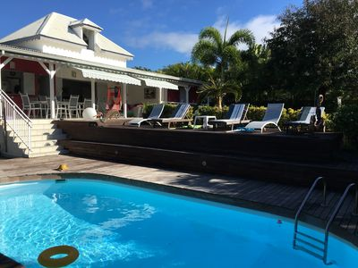 Creole villa, large garden with trees and a private pool