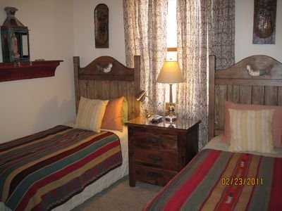 Santa Fe townhome rental - Winter bed toppers on 2nd bdrm Comfy pillow top twin beds, Cable TV.