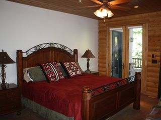 Sundance cabin photo - Master Suite~ King. Door leads to main level back deck~ East. 3 South Windows.