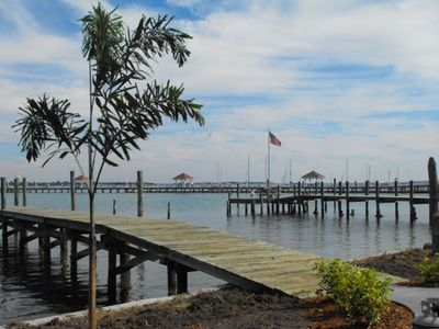 View of city pier from our deep water dock.  Bring Boat-Fish off dock 24-7!