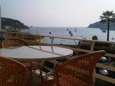 View of Villefranche bay from the table terrace