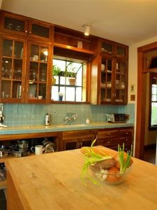 The kitchen island overlooks the backyard.