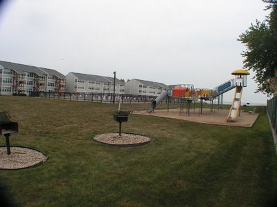 Large playground, grills, pool, beach