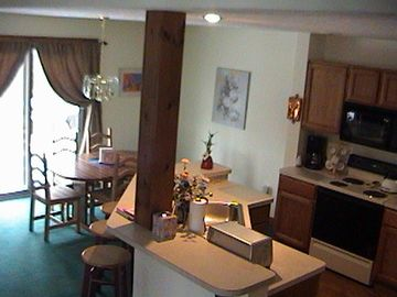 View of the Kitchen and the dining room, so cooks and guests can be together
