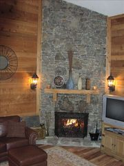Hidden Valley townhome photo - Stone wall with wood fireplace