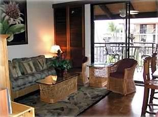 Living Room and Lanai. Hardwood floors, 10 ft. teak privacy shutters on tracks