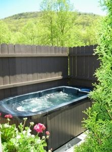 Enjoy the private two person hot tub on the back porch!