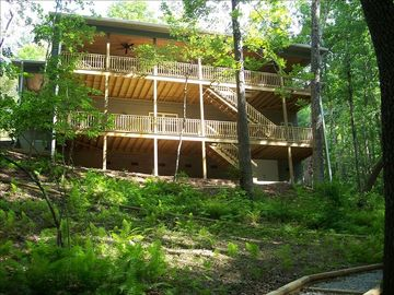 Lake Nantahala house rental - View of decks and lake side of house.