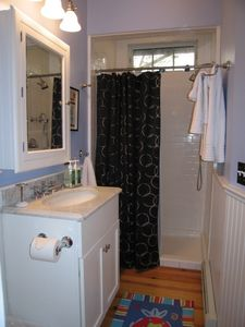 Bathroom, tile shower, marble vanity