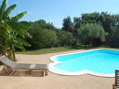 Villa with private heated pool in a gated garden, 250 m from the beach
