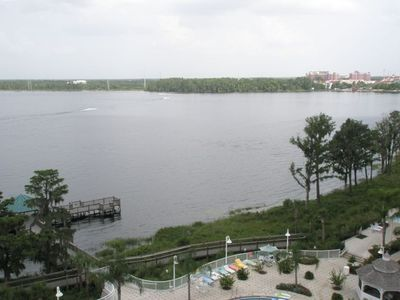 View of Lake Bryan from our 6th floor condo balcony - jet ski, water ski