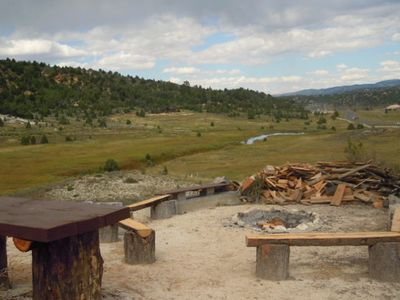The Fire Pit on the point over looking the meadow. Hwy 89 is to the right.