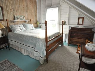 Peaks Island cottage photo - Upstairs Bedroom 2 with Ocean View and Queen Bed