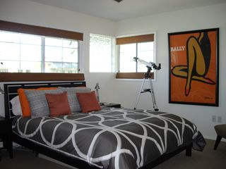 Palm Springs condo photo - Master bedroom and yes, that is a telescope!