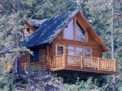 Hill City cabin rental - Timber Haus guests enjoy a birds-eye view of visiting deer and wild turkey.
