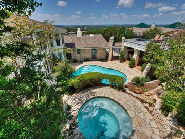 Lakeway house rental - View from the back of the home of Hot Tub, Pool & Cabana.