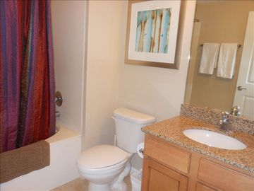 Both bathrooms have granite countertops & always sparkling clean!